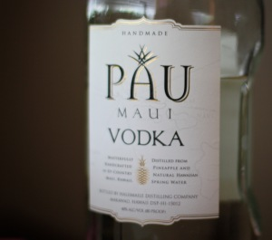 Bottle of Pau Maui Vodka